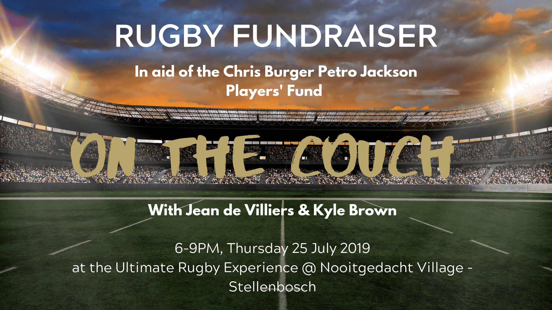 Rugby Fundraiser – Conversations 'On the Couch' with Jean de Villiers & Kyle Brown