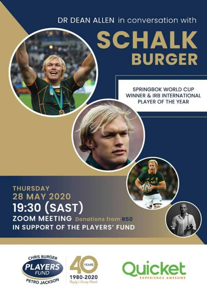 Schalk Burger fundraising event for the Players' Fund
